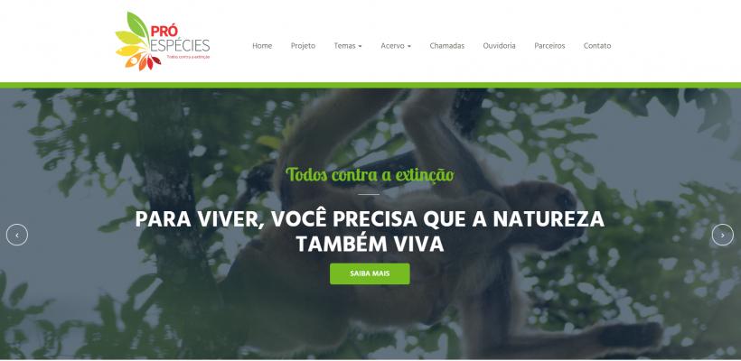 Está no ar o site do Projeto Pró-Espécies: Todos contra a extinção